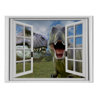 T-Rex Dinosaurs Faux Window View Poster