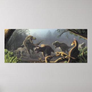 T.rex hunting scene poster
