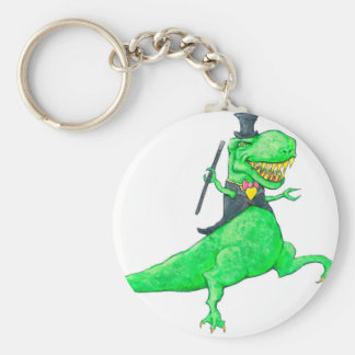 T-Rex in Top Hat and Tails Key Ring