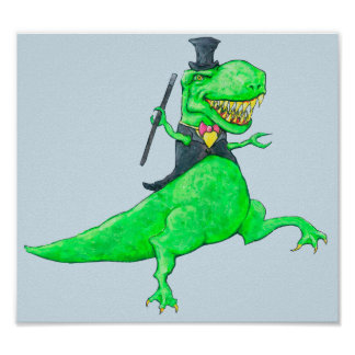 T-Rex in Top Hat and Tails Poster