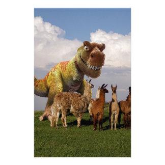 T Rex Llamas Customized Stationery