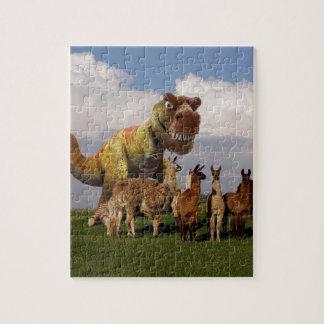 T Rex Llamas Jigsaw Puzzle