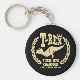 T-Rex Loves Push-Ups Basic Round Button Key Ring