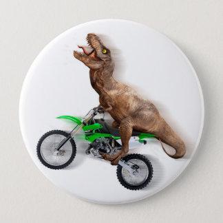 T rex motorcycle - t rex ride - Flying t rex 10 Cm Round Badge