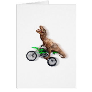T rex motorcycle - t rex ride - Flying t rex Card