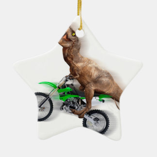 T rex motorcycle - t rex ride - Flying t rex Ceramic Ornament