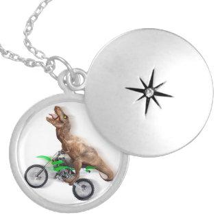 T rex motorcycle - t rex ride - Flying t rex Locket Necklace