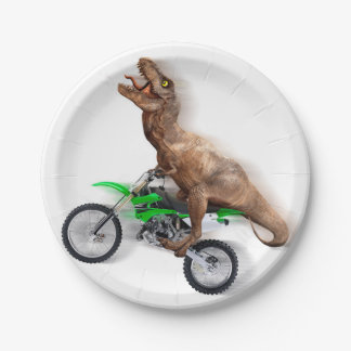 T rex motorcycle - t rex ride - Flying t rex Paper Plate