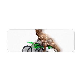 T rex motorcycle - t rex ride - Flying t rex Return Address Label