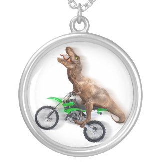 T rex motorcycle - t rex ride - Flying t rex Silver Plated Necklace