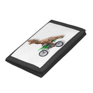 T rex motorcycle - t rex ride - Flying t rex Tri-fold Wallet