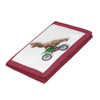 T rex motorcycle - t rex ride - Flying t rex Tri-fold Wallet