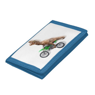 T rex motorcycle - t rex ride - Flying t rex Trifold Wallet
