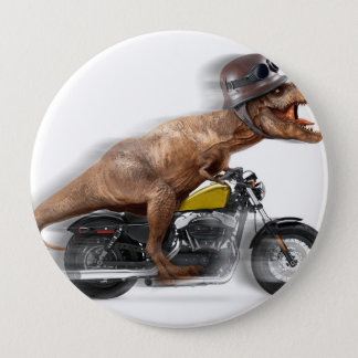 T rex motorcycle-tyrannosaurus-t rex - dinosaur 10 cm round badge