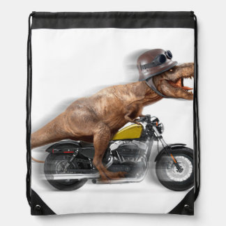 T rex motorcycle-tyrannosaurus-t rex - dinosaur drawstring bag