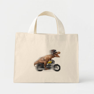 T rex motorcycle-tyrannosaurus-t rex - dinosaur mini tote bag