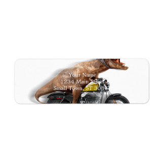 T rex motorcycle-tyrannosaurus-t rex - dinosaur return address label