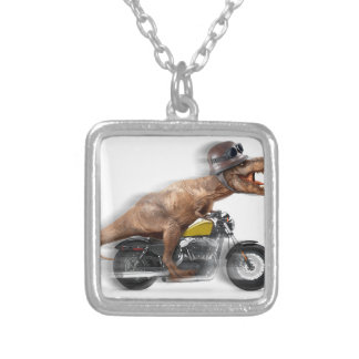 T rex motorcycle-tyrannosaurus-t rex - dinosaur silver plated necklace