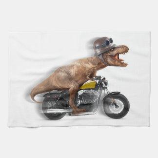 T rex motorcycle-tyrannosaurus-t rex - dinosaur tea towel