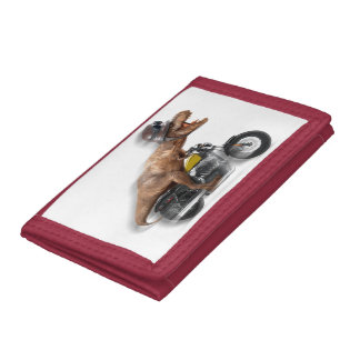T rex motorcycle-tyrannosaurus-t rex - dinosaur trifold wallet