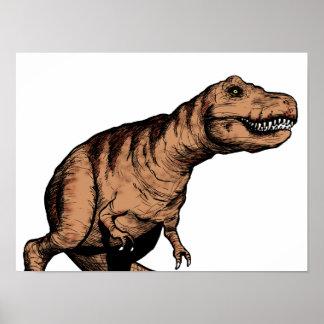 T-Rex pen and ink illustration Poster