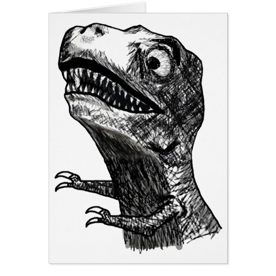 T-Rex Rage Meme - Greeting Card
