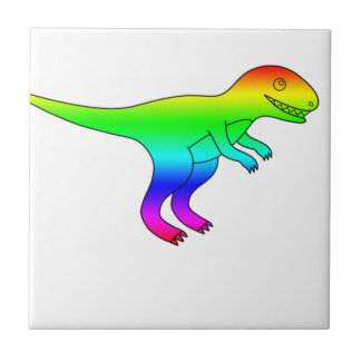 T-Rex Rainbow Funny Natural Tile