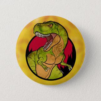 T-Rex red background 6 Cm Round Badge