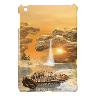 T-rex skeleton in a fantasy world with sunset iPad mini cover