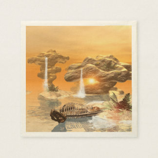 T-rex skeleton in a fantasy world with sunset paper napkins