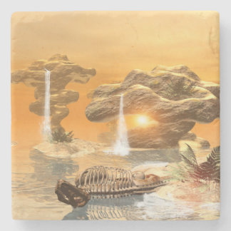T-rex skeleton in a fantasy world with sunset stone beverage coaster