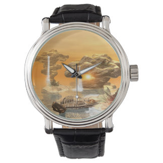 T-rex skeleton in a fantasy world with sunset wrist watches