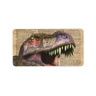 T-rex,tyrannosaurus,dinosaur Vintage Antique Art Address Label