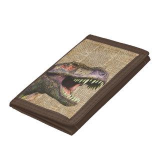 T-rex,tyrannosaurus,dinosaur Vintage Antique Art Tri-fold Wallets
