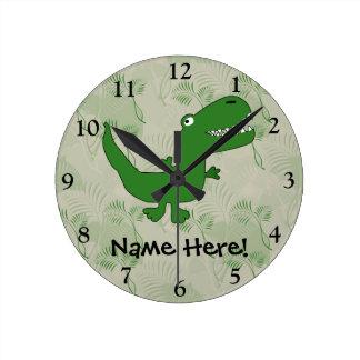 T-Rex Tyrannosaurus Rex Dinosaur Cartoon Kids Boys Wall Clocks