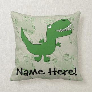 T-Rex Tyrannosaurus Rex Dinosaur Cartoon Kids Boys Throw Pillows