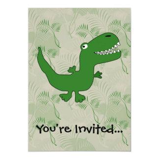 "T-Rex Tyrannosaurus Rex Dinosaur Cartoon Kids Boys 5"" X 7"" Invitation Card"