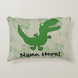 T-Rex Tyrannosaurus Rex Dinosaur Cartoon Kids Boys Accent Pillow
