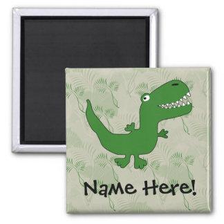 T-Rex Tyrannosaurus Rex Dinosaur Cartoon Kids Boys Square Magnet