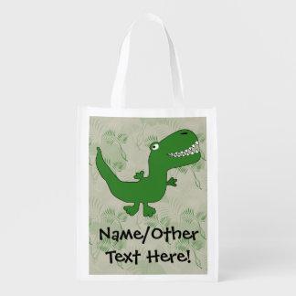 T-Rex Tyrannosaurus Rex Dinosaur Cartoon Kids Boys Reusable Grocery Bag