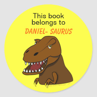 T Rex Tyrannosaurus Rex Dinosaur Custom Bookplate Classic Round Sticker