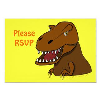 "T-Rex Tyrannosaurus Rex Scary Cartoon Dinosaur 3.5"" X 5"" Invitation Card"