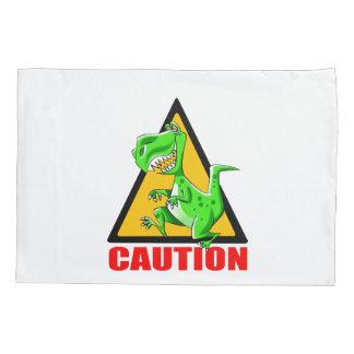 T-REX WARNING CROSSING PILLOWCASE