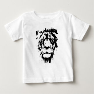 T-shirt black and white print lion