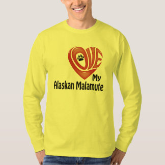 T-Shirt Long-sleeve Men: Love My Alaskan Malamute