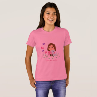 """T-shirt of """"Cathy and the Cat"""" with butterflies"""