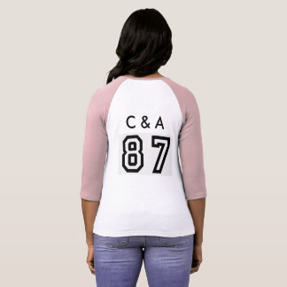 t-shirt pink and white with c & a and 87 on it