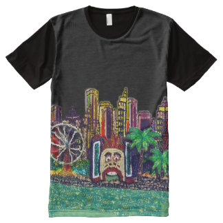 T-Shirt | Sequin Art Print Luna Park Sydney All-Over Print T-Shirt