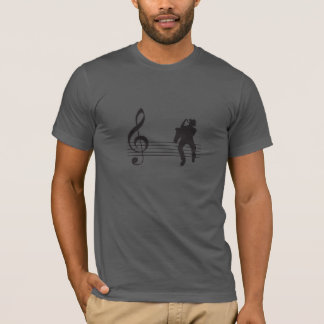 T-shirt silhouette saxophone player on stafflines