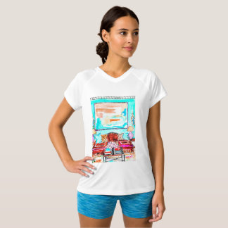 T-shirt, v-neck with living room vignette. T-Shirt